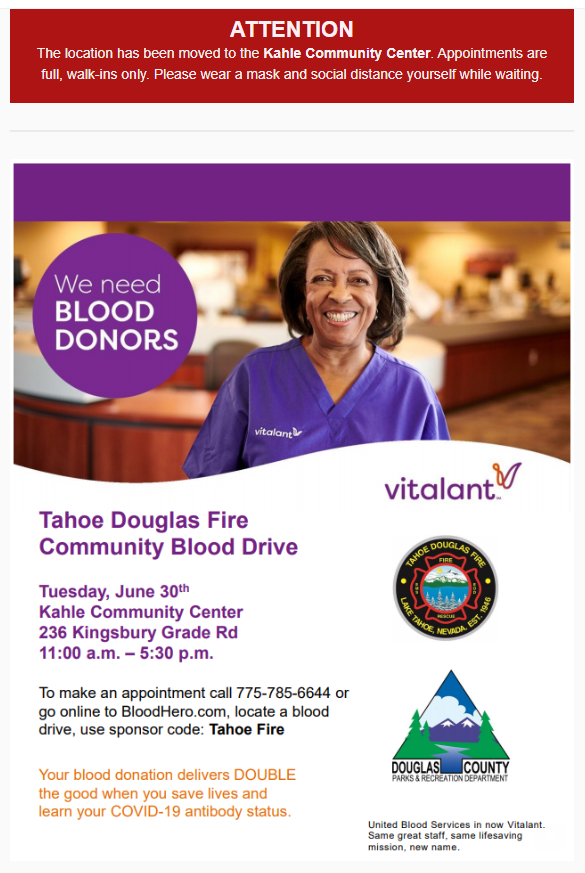Blood Drive June 2020 - Relocation to Kahle Community Center