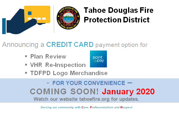 TDFPD will accept all major credit card payments!