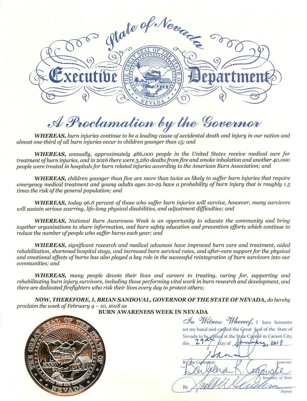 Governor's Proclamation - Burn Awareness Week