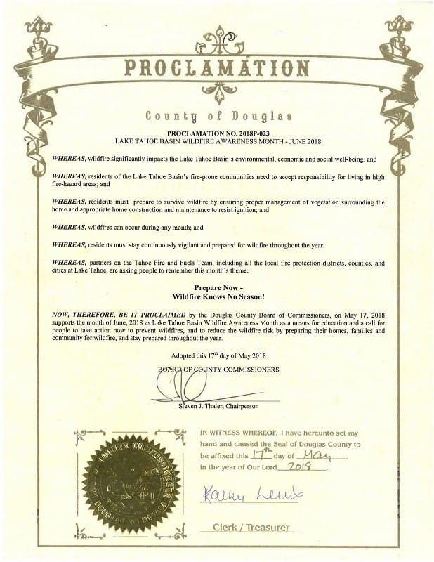 Governor's Proclamation - Lake Tahoe Basin Wildfire Awareness Month