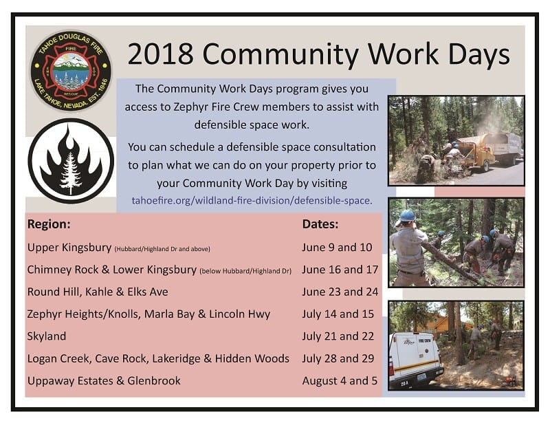 2018 Community Work Days Schedule