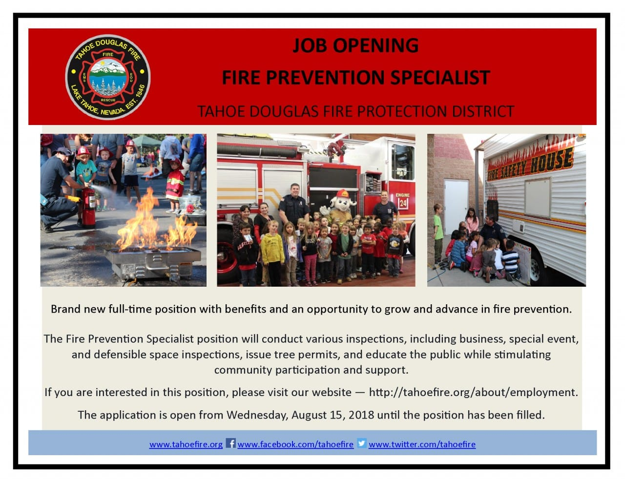 JOB OPENING - FIRE PREVENTION SPECIALIST