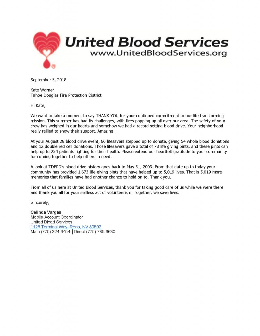 TAHOE DOUGLAS COMMUNITY SAVING LIVES WITH BLOOD DRIVES